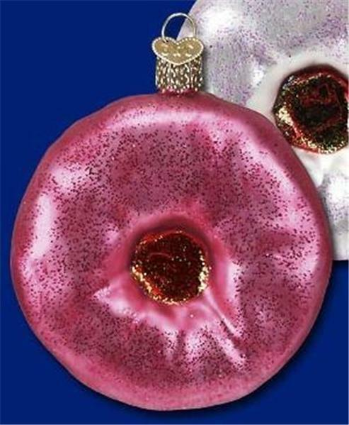 PINK STRAWBERRY FROSTED DONUT OLD WORLD CHRISTMAS GLASS DOUGHNUT ORNAMENT 32057