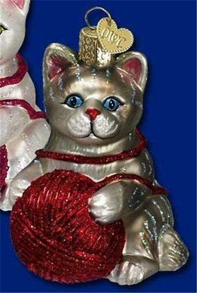 GRAY PLAYFUL KITTEN CAT KITTY YARN OLD WORLD CHRISTMAS GLASS ORNAMENT NWT 12170