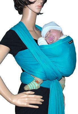 in Babytragetuch Babytrage Bauchtrage stretch - türkis (Sonnenschein Tragen)