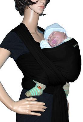 IN Babytragetuch Babytrage Bauchtrage Stretch - Schwarz (Sonnenschein Tragen)
