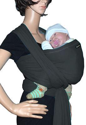 IN Babytragetuch Babytrage Bauchtrage Stretch - Grau (Sonnenschein Tragen)