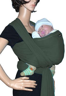 IN Babytragetuch Babytrage Bauchtrage Stretch - Olive (Sonnenschein Tragen)