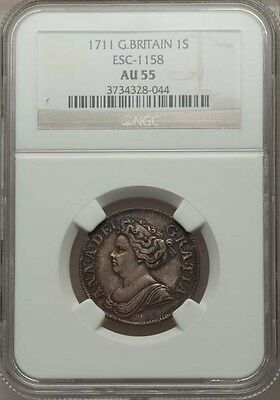 G B  England Anne  1711  Shilling  Almost Uncirculated  Certified By Ngc Au 55