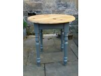 Vintage round rustic country kitchen pine dining table seats 2