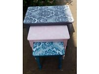 Vintage nest of tables with lace design