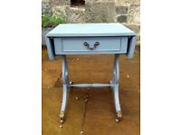Vintage painted grey side / console table with decoupaged drawer