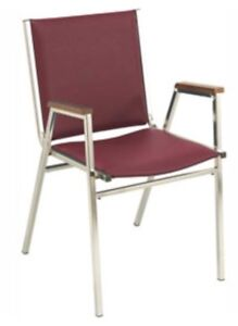 """100 Upholstered Stack Chair with 2"""" Thick Cushioning & Armrests"""
