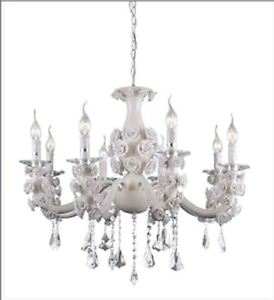 Retro Modern White Chandelier W Ceramic Roses And Crystals