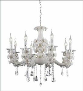 Retro modern white chandelier w/ceramic roses and crystals