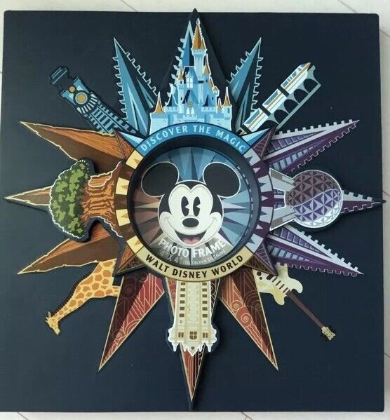 Walt Disney World Mickey Mouse Four Wdw Parks Compass Photo Frame New
