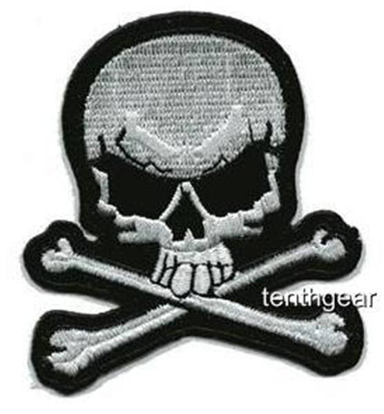 "SKULL X BONES JACKET PATCH #2 biker iron on ""FREE SHIP"""