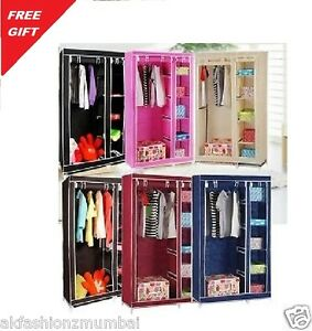 BROWN Double Door Folding Wardrobe Cupboard Almirah available at Ebay for Rs.1395