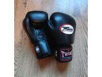 14 oz Genuine twin Thai boxing gloves. Black