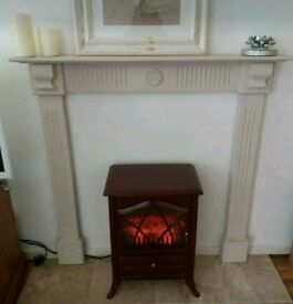 Small Shabby Chic painted wooden fireplace