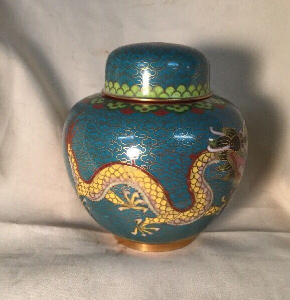 Chinese Mini Hand Painted Asian Metal Dragon Urn. #1301
