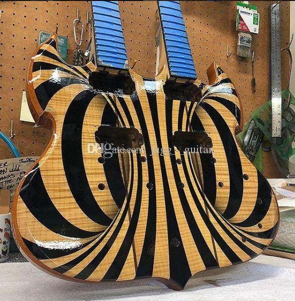 Starshine Custom 12 & 6 strings Double Neck  Black Behemoth SG Electric Guitar