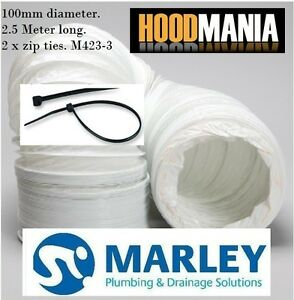4-100mm-White-PVC-Extraction-Flexible-Ducting-Hose-2-5-Metres-2-x-Cable-Ties