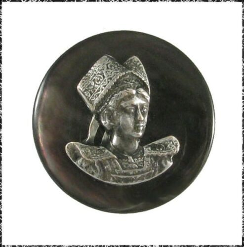 Small Vintage Button, Woman in French Provincial Costume on Black Lip Pearl