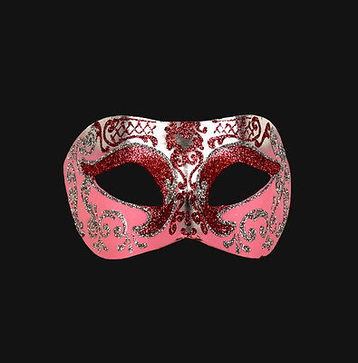 Mask from Venice Wolf Colombine Pink Silver Authentic Paper Mache V18-43