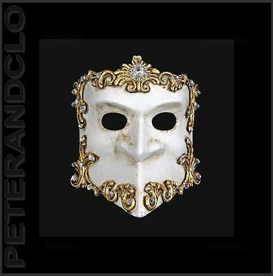 Mask from Venice Bauta Barocco Silver and White Authentic Venetian 534