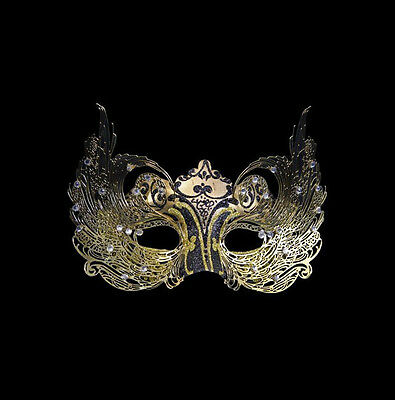 Mask from Venice Colombine Luxury Venetian Paper Mash and Metal Golden Black 446