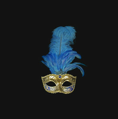 Mask from Venice Colombine a Feathers Ostrich Blue Dore-Mask Venetian- 509