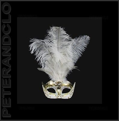 Mask Venice Wolf in Feathers Ostrich Golden White-Mask Venetian - 530