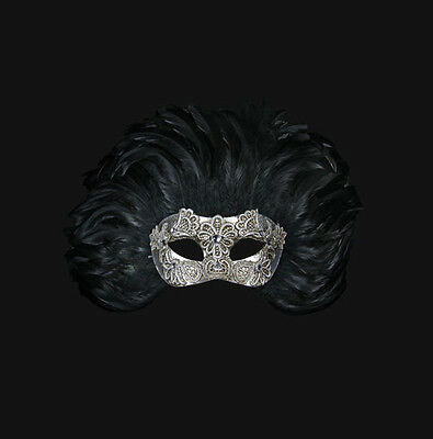 Mask from Venice Colombine Macrame Silver IN Feathers Of Rooster Female 568