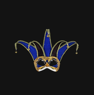 Mask from Venice Jolly Spikes Colombine Blue Black Authentic Venetian 488