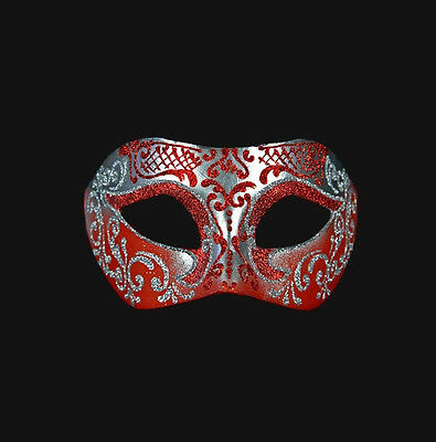 Mask from Venice Colombine Wolf Red Silver in Paper Mache Venetian 299