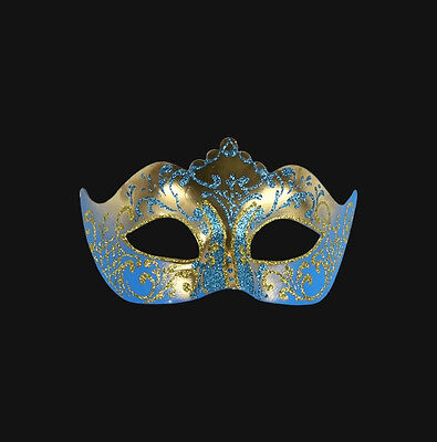 Mask from Venice Colombine a Tip Golden Blue Authentic Carnival Venetian 301