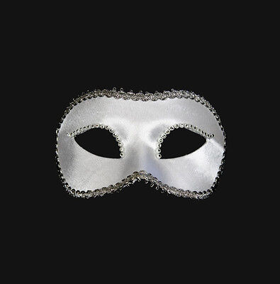 Mask from Venice Wolf Colombine Satin Veloute White and Rhinestones Paper Mache