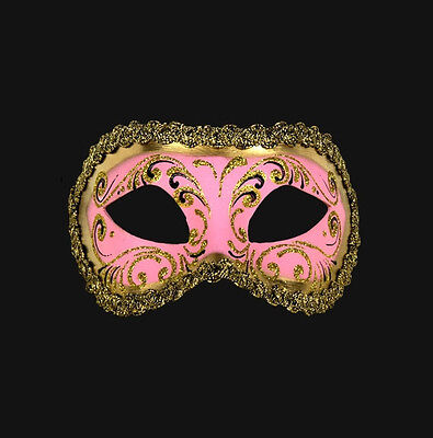 Mask from Venice Wolf Colombine Pink and Golden Authentic Paper Mache 456