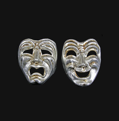 Masks from Venice Volto Commedia Tragedia Silver Authentic Paper Mache 504