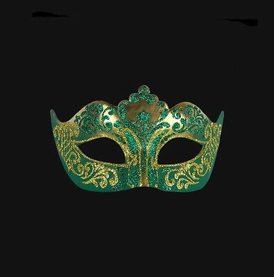 Mask from Venice Colombine a Tip Golden Green Authentic Carnival Venetian 59