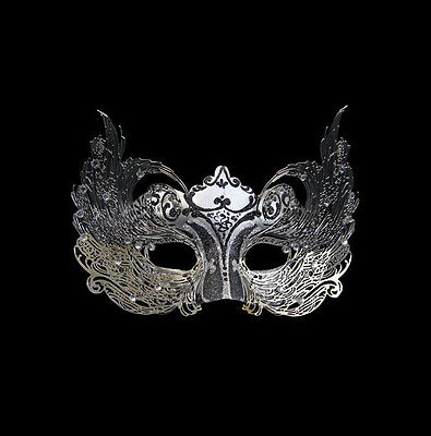 Mask Venice Colombine Luxe Venetian Paper Mash and Metal Silver Black 444