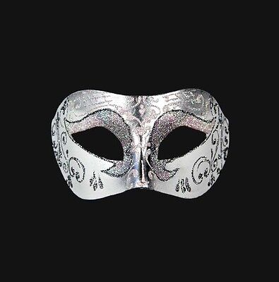 Mask from Venice Colombine Wolf White Pink Silver in Paper Mache Venetian 52