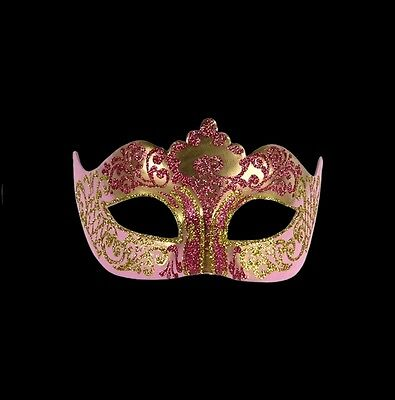 Mask from Venice Colombine a Tip Golden Pink Authentic Carnival Venetian 297
