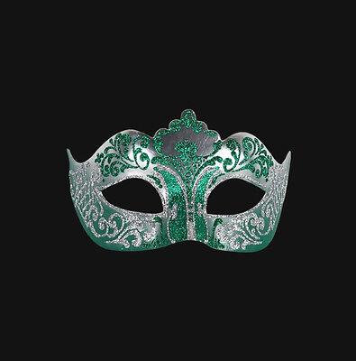 Mask from Venice Colombine in Tip Green Silver in Paper Mache Venetian 155
