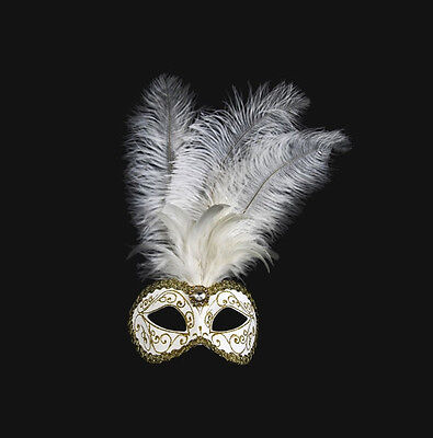 Mask Venice Colombine to Ostrich Feathers White Golden Mask Venetian - 490