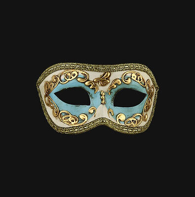 Mask from Venice Wolf Colombine White Blue and Golden Paper Mache Authentic 462