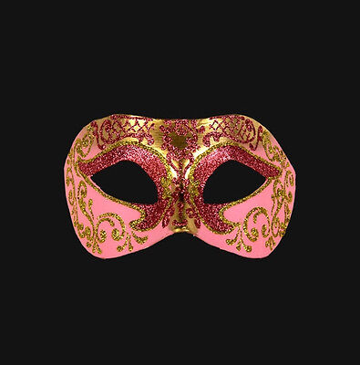 Mask from Venice Wolf Colombine Pink and Golden Paper Mache Authentic 460