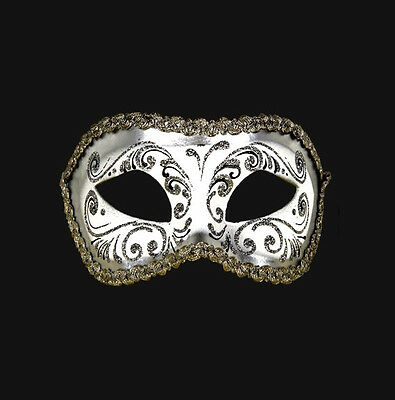 Mask from Venice Wolf Colombine White and Silver Authentic Paper Mache 451