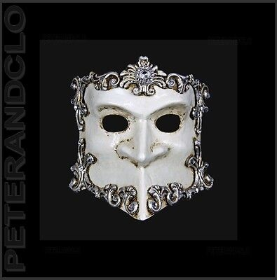 Mask from Venice Bauta Barocco Silver and White Authentic Venetian 533