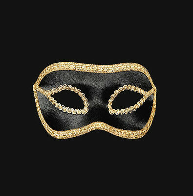 Mask Venice Wolf Colombine Satin Veloute Black & Gold Paper Mache 464