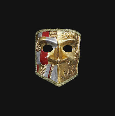 Mask Venice Bauta Art Deco Gold and Red Authentic Venetian 481