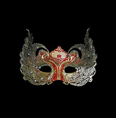 Mask from Venice Colombine Luxury Venetian Paper Mash and Metal Golden Red 445