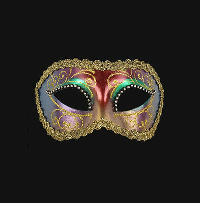 Mask Venice Wolf Colombine Tutti Fruiti Golden AND RHINESTONES Paper Mache 459