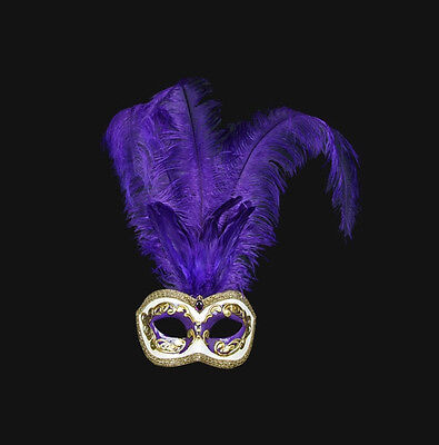 Mask from Venice Colombine in Feathers Ostrich Purple Golden Mask Venetian - 512
