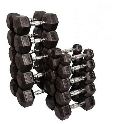 5-50 lb Rubber Coated Dumbbell Pairs, 20 Dumbbells, 550 lbs  Body-Solid SDRS550